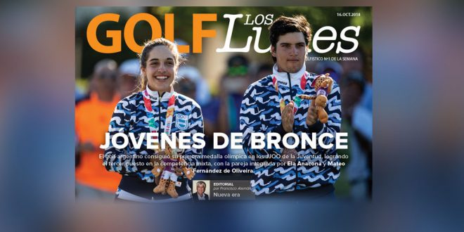 Bronze Medalists in the Golf Mixed Team Event Mateo Fernandez De Oliveira ARG and Ela Anacona ARG of Team Argentina during the medal ceremony at the Hurlingham Club during The Youth Olympic Games, Buenos Aires, Argentina, Monday 15th October 2018. Photo: Joe Toth for OIS/IOC. Handout image supplied by OIS/IOC