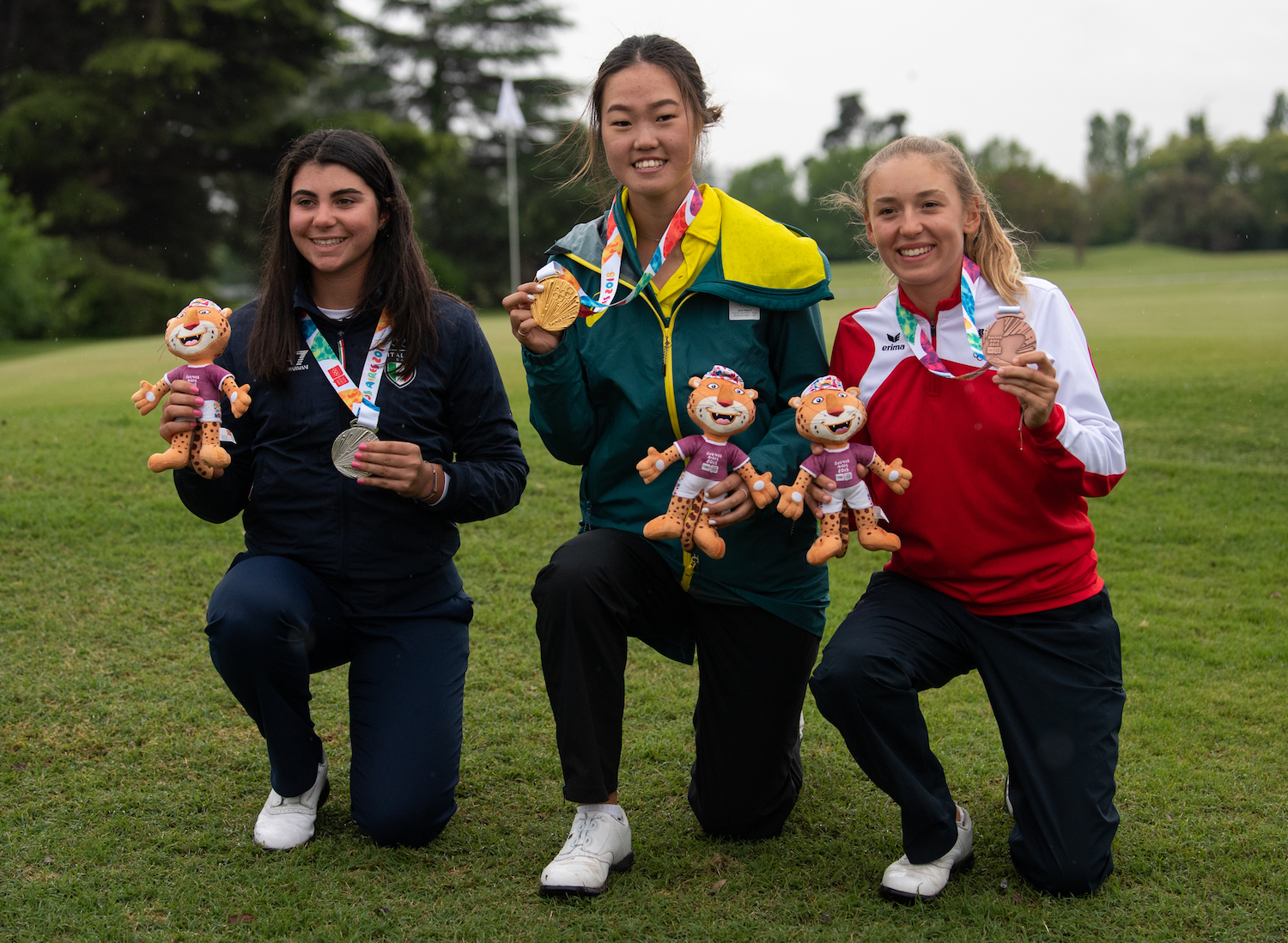 Grace Kim (ORO), Alessia Nobilio (PLATA) Emma Spitz (Bronce). Photo: Jonathan Nackstrand for OIS/IOC. Handout image supplied by OIS/IOC