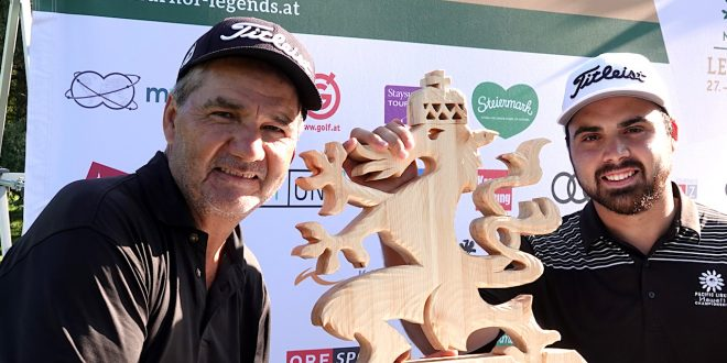 FROHNLEITEN, AUSTRIA - SEPTEMBER 29: Jose Coceres of Argentina poses with the trophy and his son Marco after the final round of the Murhof Legends - Austrian Senior Open on September 29, 2019 in Frohnleiten, Austria . (Photo by Phil Inglis/Getty Images)